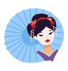 Set of Japanese geisha girls vector