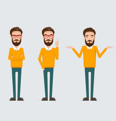 set of male cartoon character in various poses vector image