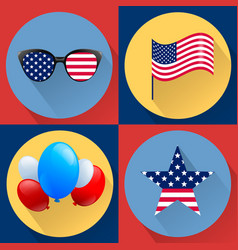 set of patriotic dedicated to the fourth of july vector image