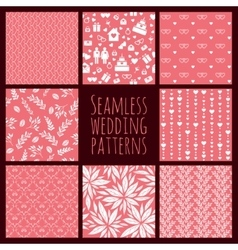 Set of seamless patterns for wedding decoration vector