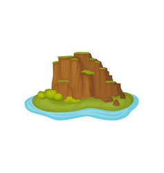 small island with green plants and mountain slopes vector image