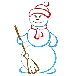 Snowball in a cap with a broom vector