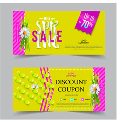 Spring sale coupon vector