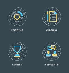 statistics checking success discussions set of 4 vector image