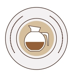 Sticker stamp circular with glass jar of coffee vector
