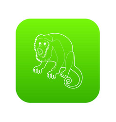 surprised monkey icon green vector image