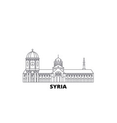 Syria line travel skyline set syria outline city vector