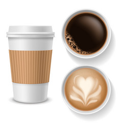 takeaway coffee cups top view beverages in paper vector image