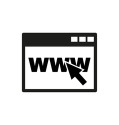 The browser icon WWW and Internet symbol Flat vector image