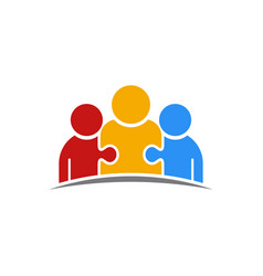 Three people puzzle teamwork logo vector