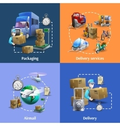 transportation and delivery icons set vector image