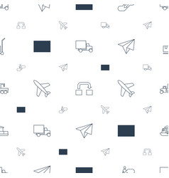 transportation icons pattern seamless white vector image