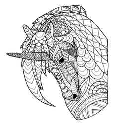 unicorn line coloring page coloring book vector image