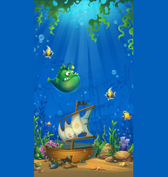 Vertical background - undersea world with ship vector