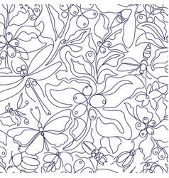 vintage boho seamless pattern art line botanical vector image