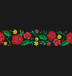 Vintage flower seamless border embroidery vector