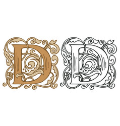 Vintage initial letter d with baroque decoration vector