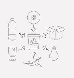 Waste separation icon line element vector