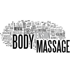 What is a body massage text word cloud concept vector