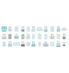 window icon set cartoon style vector image
