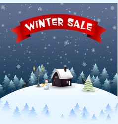 winter sale background with snowman vector image