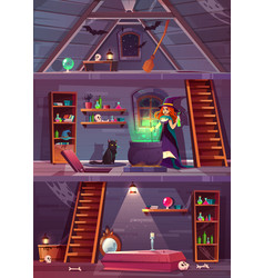 witch in house with cellar attic vector image