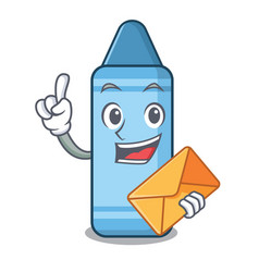 with envelope blue crayon in cartoon column vector image
