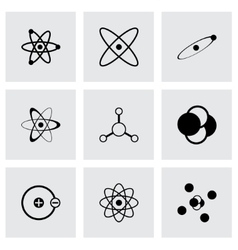 black atom icon set vector image vector image