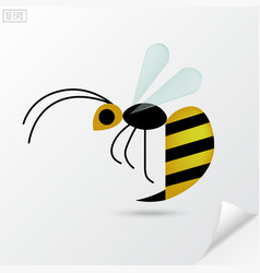 Cartoon honey bee in flat style vector image