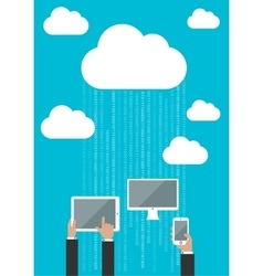 Cloud service concept with connected devices vector image vector image