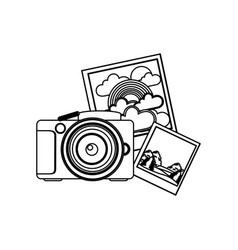 contour camera with pictures icon vector image