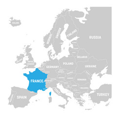 france marked by blue in grey political map of vector image