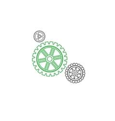 Gears set stroke green vector image vector image
