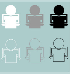 person or man working on the notebook icon vector image