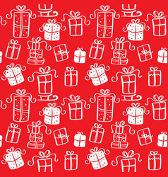 red seamless pattern of christmas presents vector image