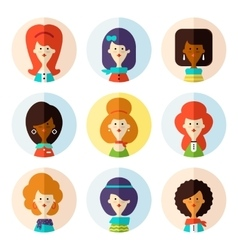 Set of flat female avatar icons for social media vector image vector image