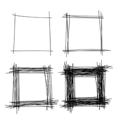 Set of Hand Drawn Scribble Squares design elements vector image vector image