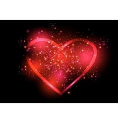 Shining valentines heart vector image vector image