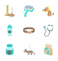 Treatment of animals icons set cartoon style vector image