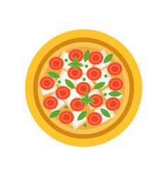 Vegetarian pizza with slices of tomatoes vector