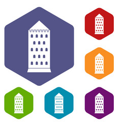ancient building icons set hexagon vector image vector image