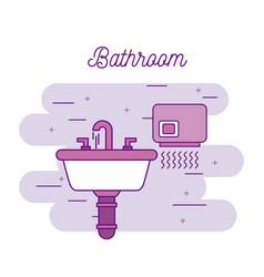 bathroom sink and hand dryer equipment vector image