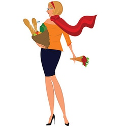 Cartoon woman in red scarf with shopping bag and vector image vector image