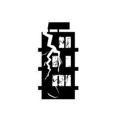 destroyed building earthquake broken house war vector image