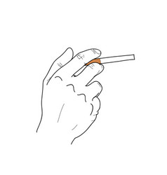 hand hold cigarette vector image vector image