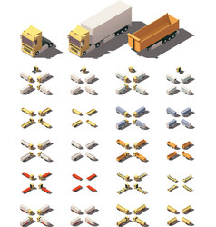 isometric trucks with semi-trailers icon vector image vector image