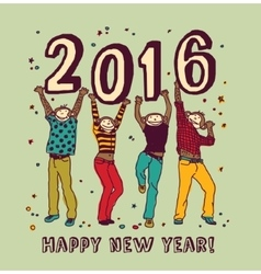 New year sign and happy monkey color card vector image vector image