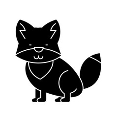 wolf cute icon black sign on vector image