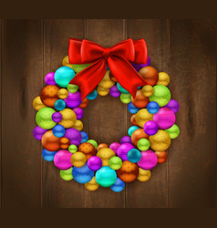 Christmas wreath wooden background vector