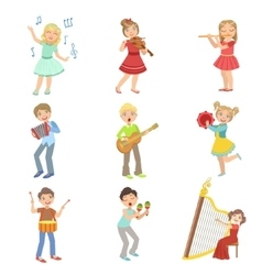 Kids Singing And Playing Music Instruments Set vector image vector image